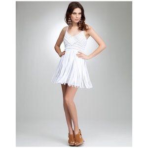 Bebe • fringe crochet cami dress in white